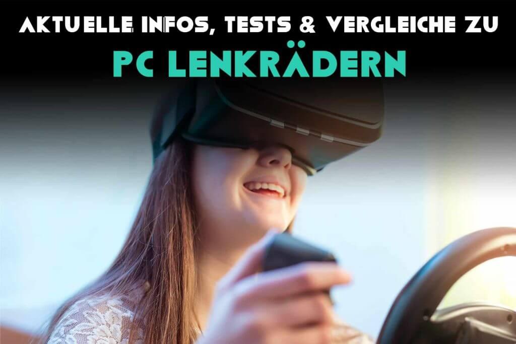 Mädchen spielt mit einem PC Lenkrad und VR-Brille