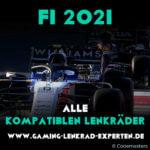 Kompatible Lenkräder für F1 2021. Formel 1 Auto aus dem Spiel im Hintergrund.
